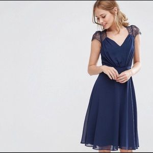 ASOS navy blue midi dress with lace shoulder